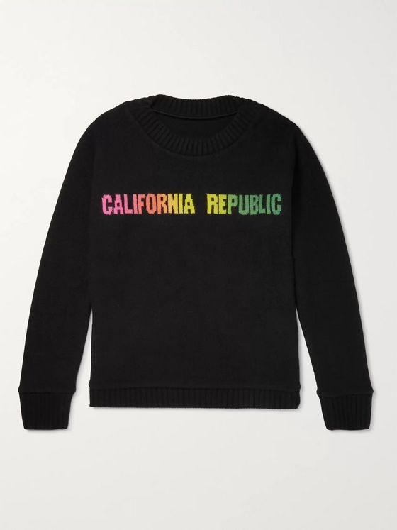 The Elder Statesman California Republic intarsia-knit cashmere sweater