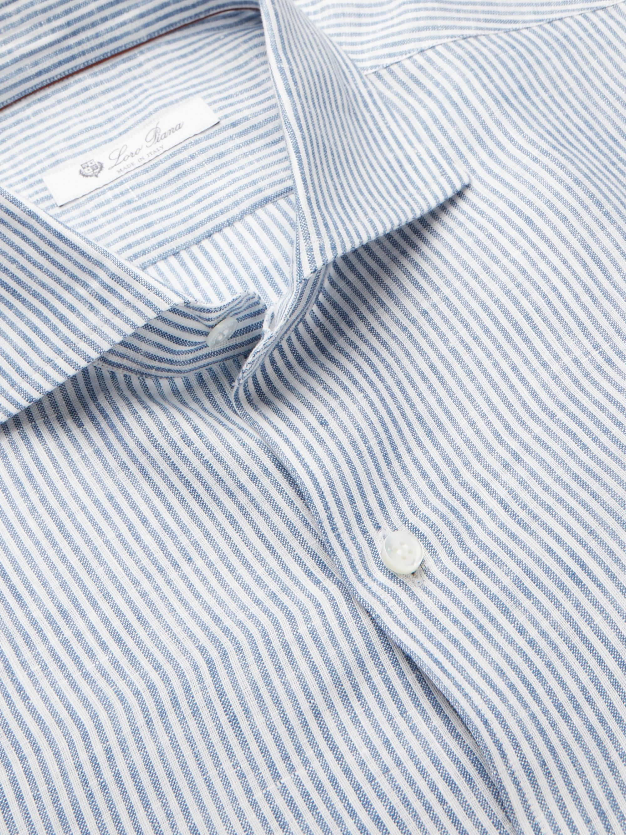 Loro Piana Albert Slim-Fit Cutaway-Collar Striped Linen Shirt