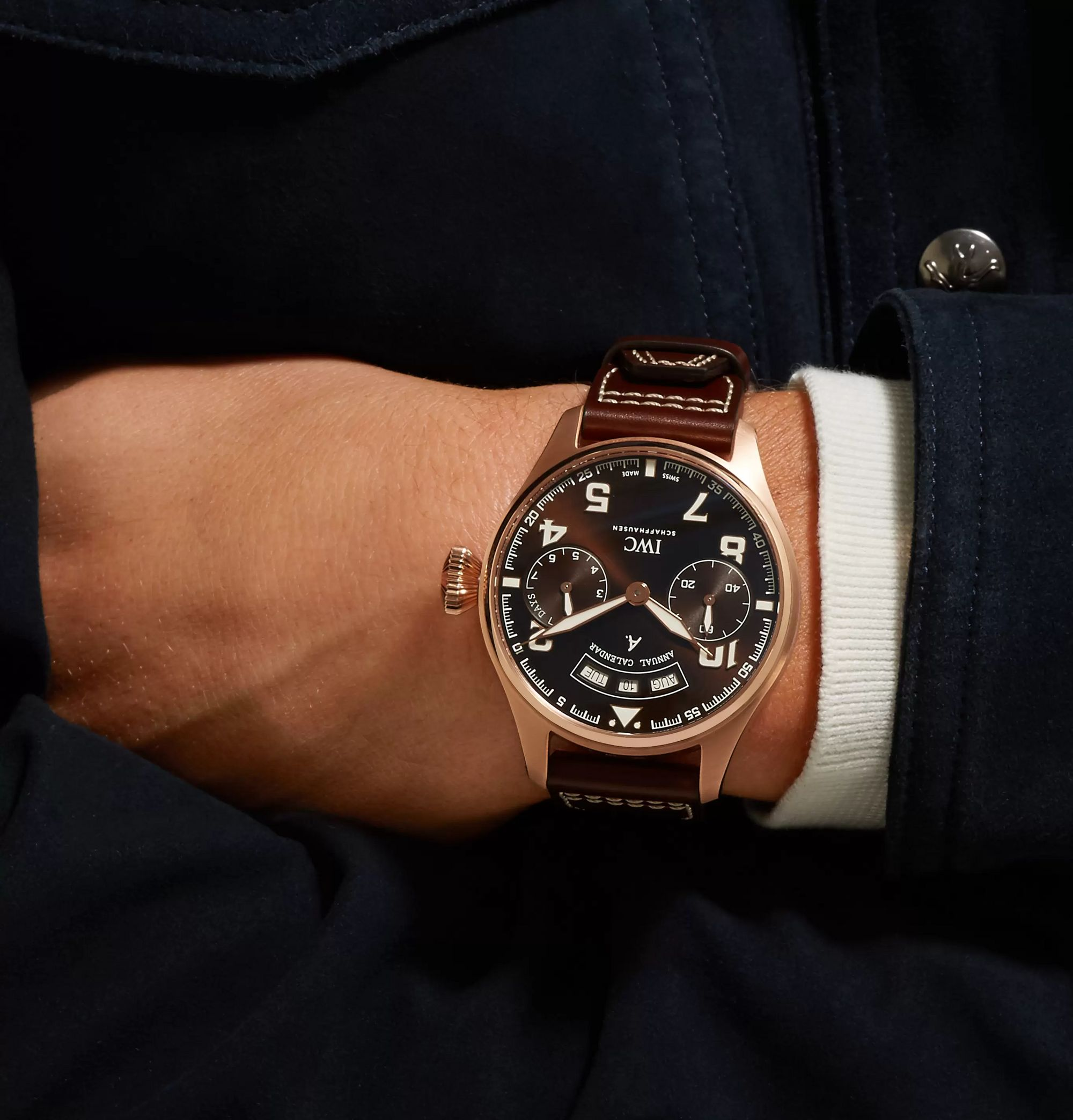 IWC SCHAFFHAUSEN Big Pilot's Antoine de Saint-Exupéry 46mm 18-Karat Red Gold and Leather Watch, Ref. No. IW502706