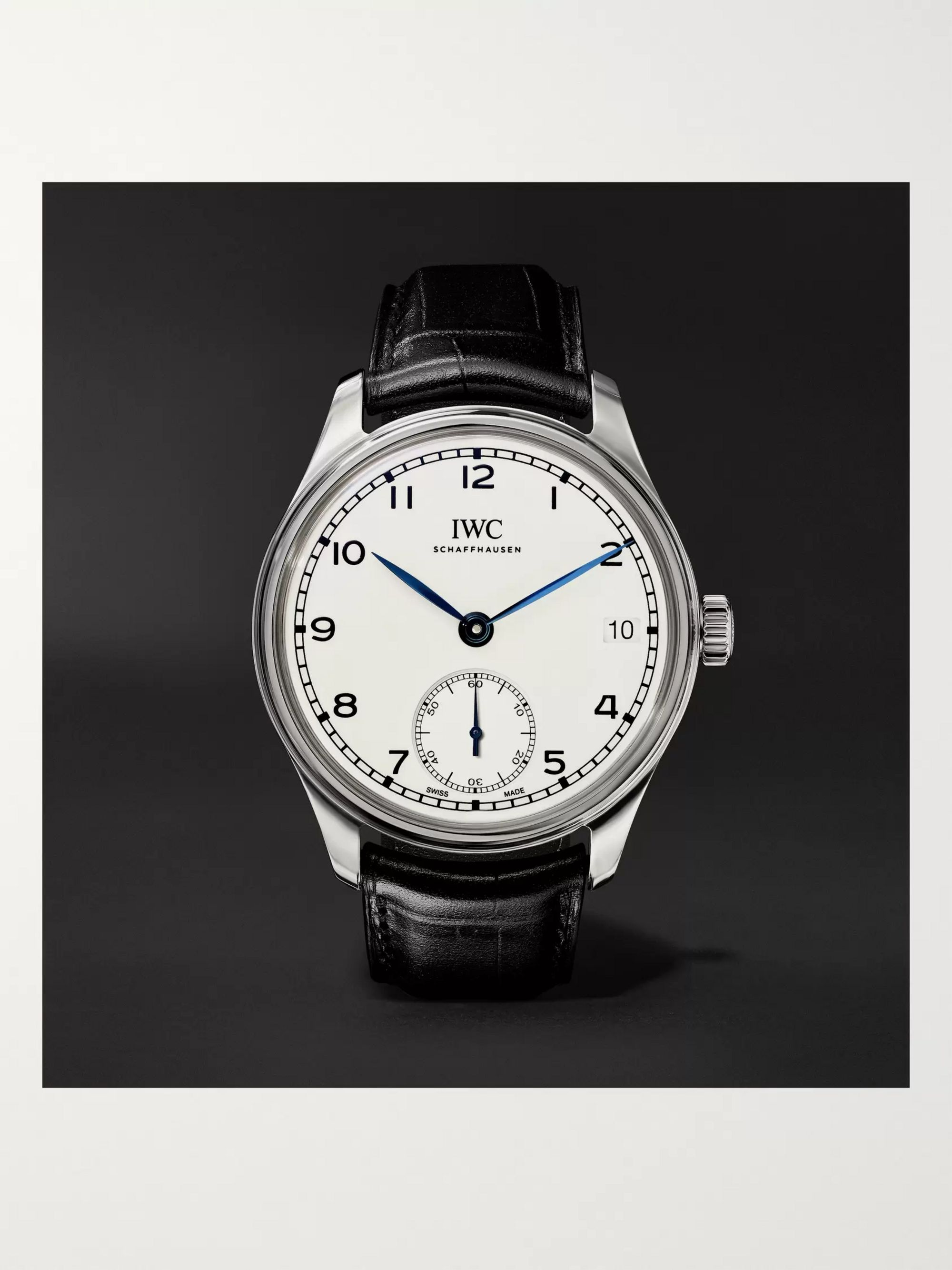 IWC SCHAFFHAUSEN Portugieser 8-Day 150 Years Limited Edition Hand-Wound 43mm Stainless Steel and Alligator Watch