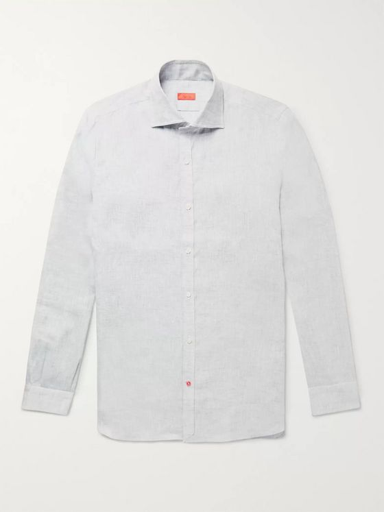 Isaia Slim-Fit Satin-Trimmed Slub Linen Shirt