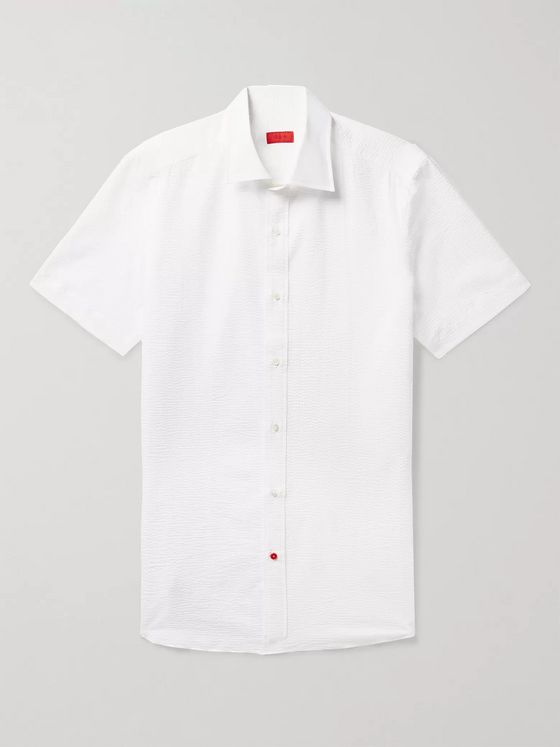 Isaia Slim-Fit Satin-Trimmed Cotton-Seersucker Shirt