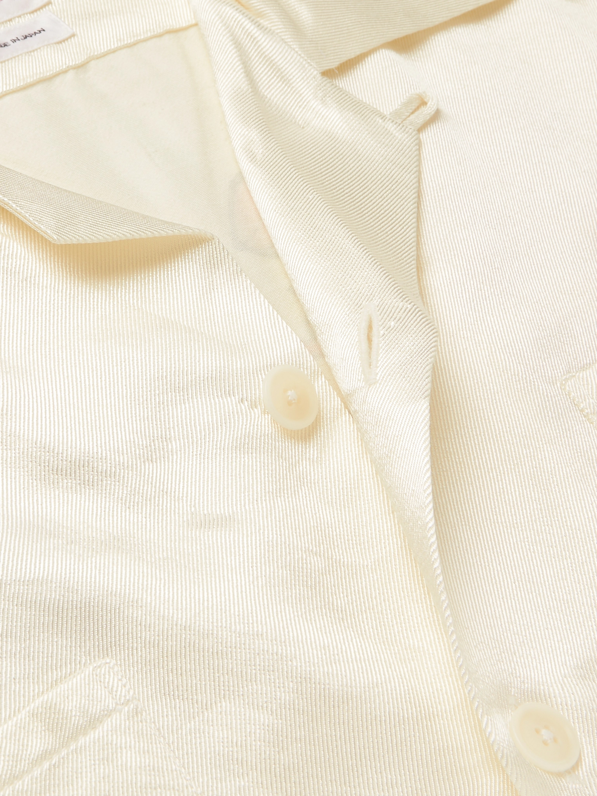 visvim Camp-Collar Logo-Print Cotton-Blend Satin-Twill Shirt