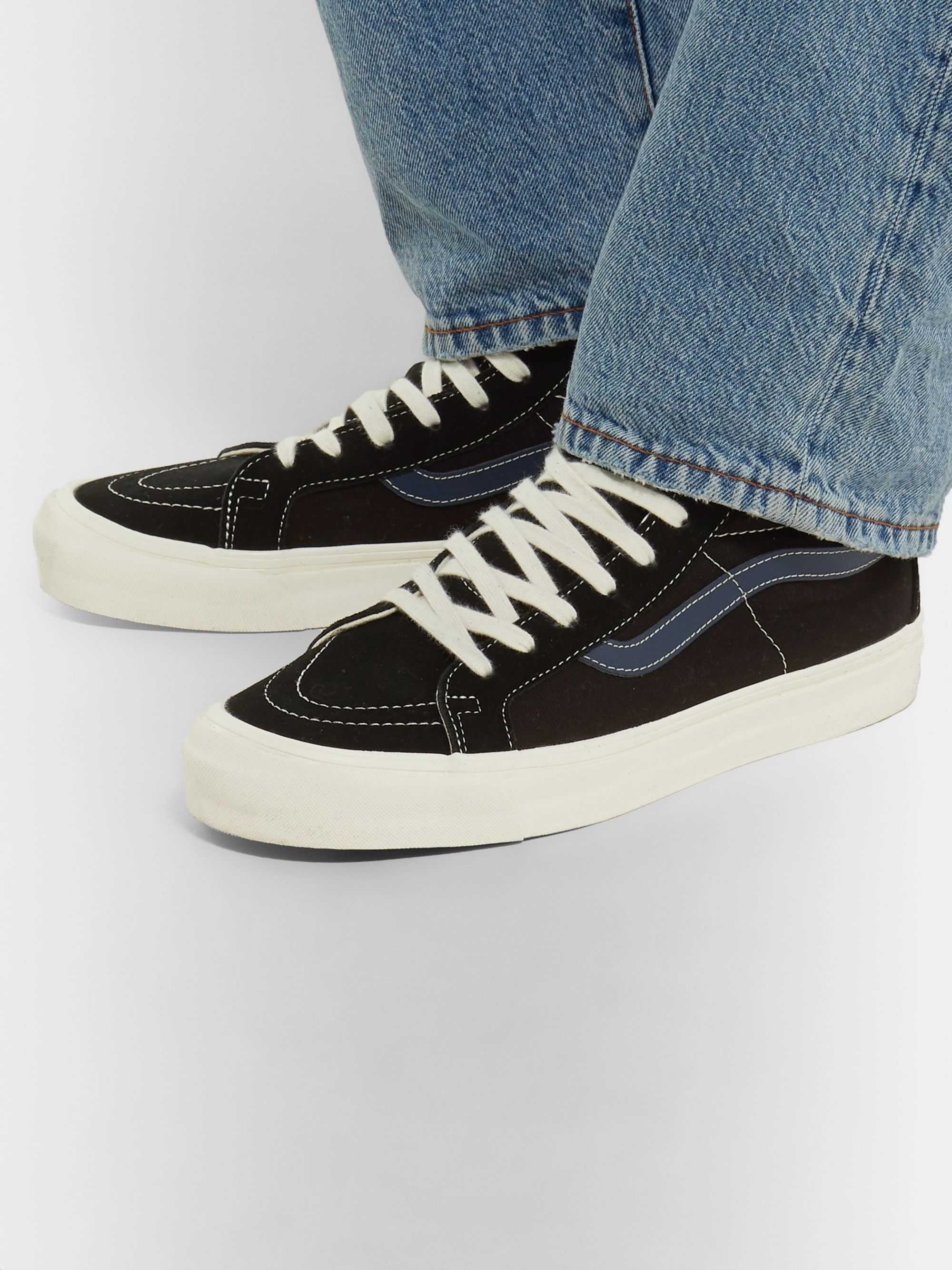OG SK8 Hi LX Leather Trimmed Canvas and Suede High Top Sneakers