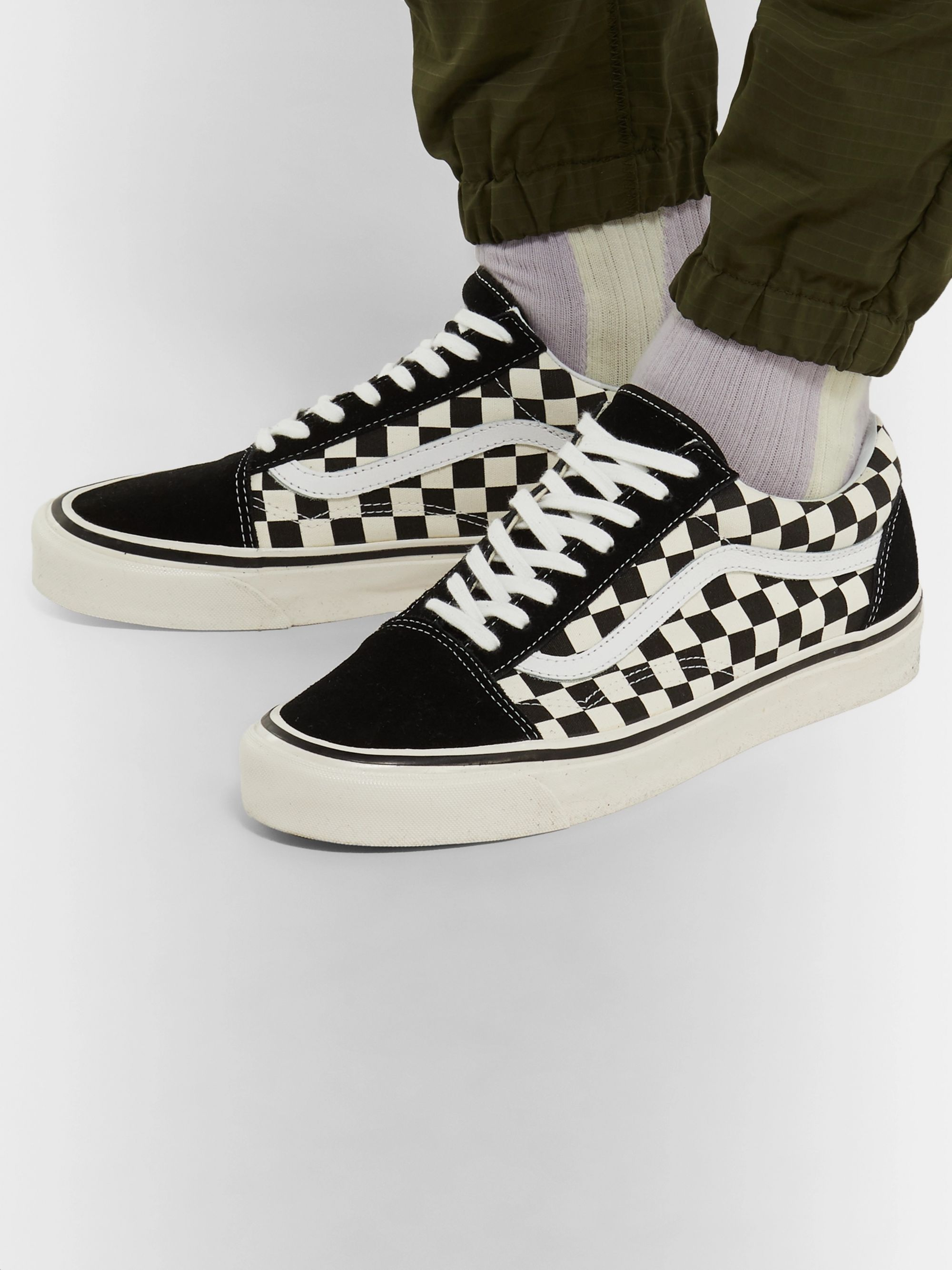 Anaheim Factory Old Skool 36 DX Leather Trimmed Checkerboard Canvas and Suede Sneakers