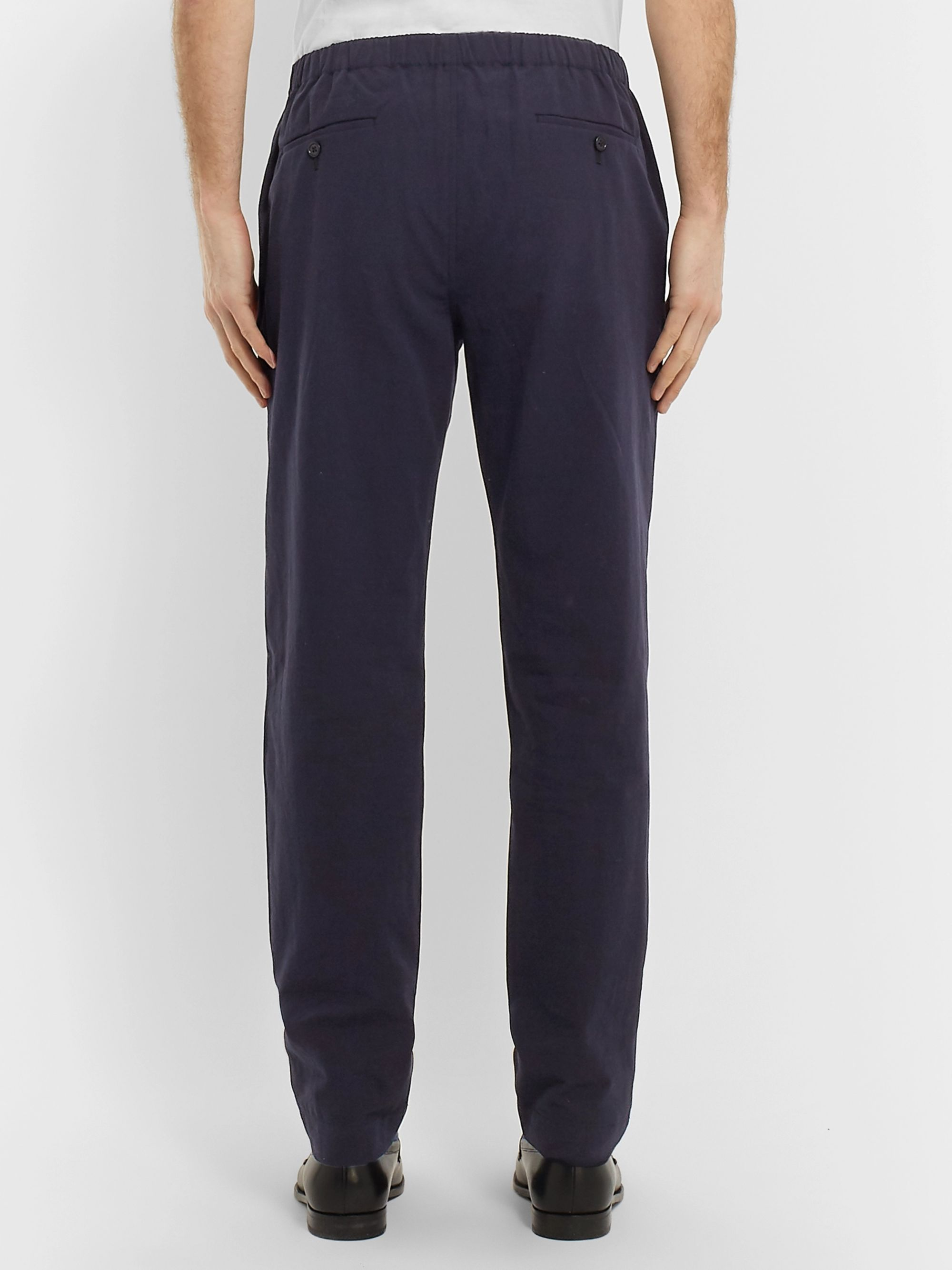 Camoshita Navy Tapered Pleated Washed-Cotton Drawstring Trousers