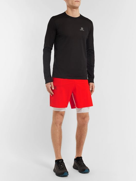 Salomon Exo Twinskin 2-In-1 Ripstop and Stretch-Jersey Shorts