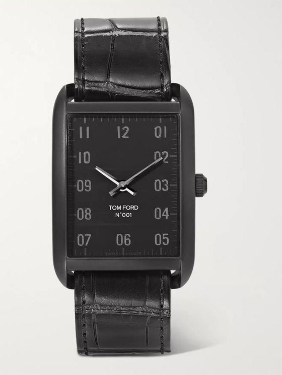Tom Ford Timepieces 001 Black DLC-Coated Stainless Steel and Alligator Watch