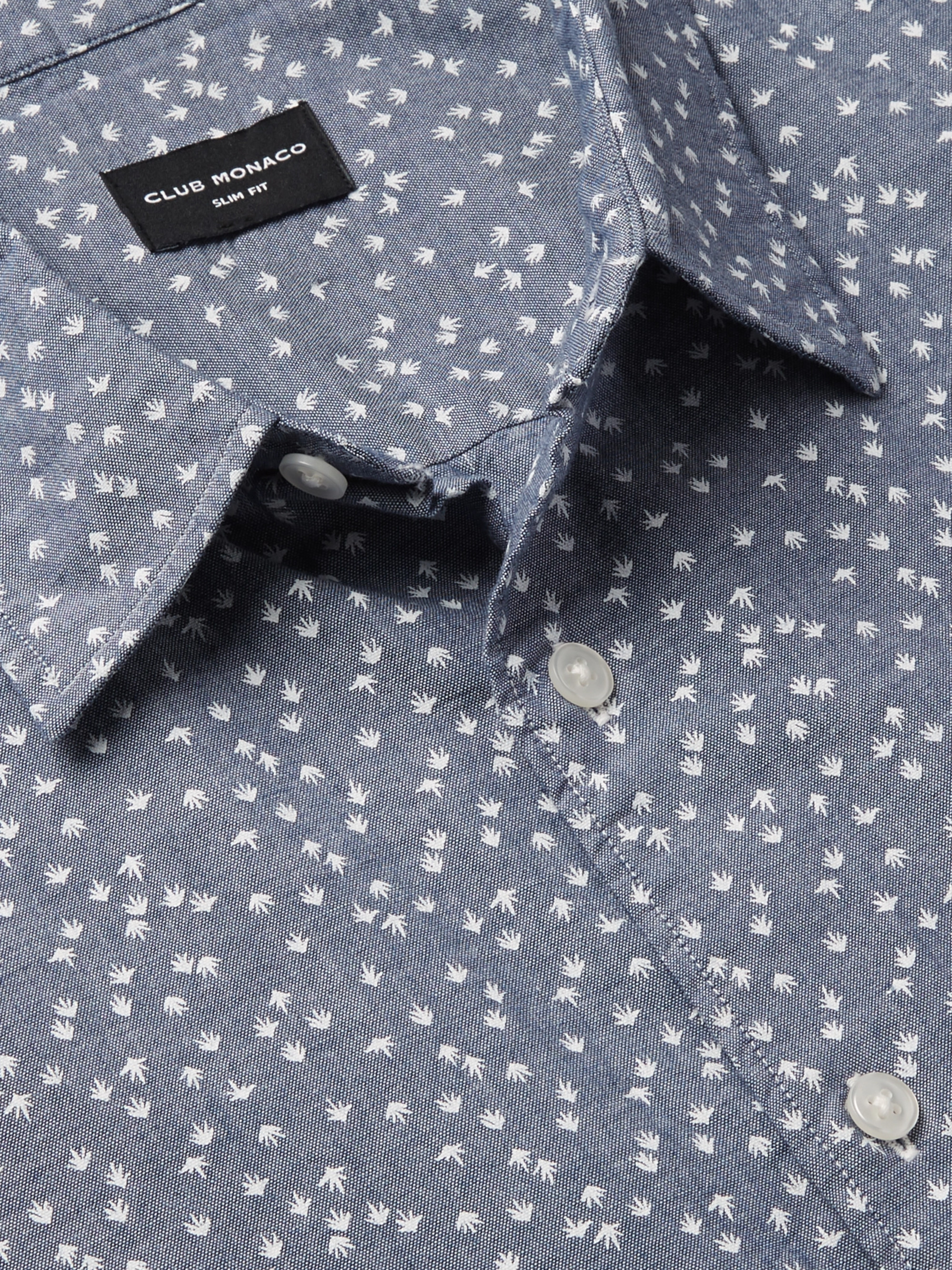 Club Monaco Slim-Fit Printed Cotton-Chambray Shirt