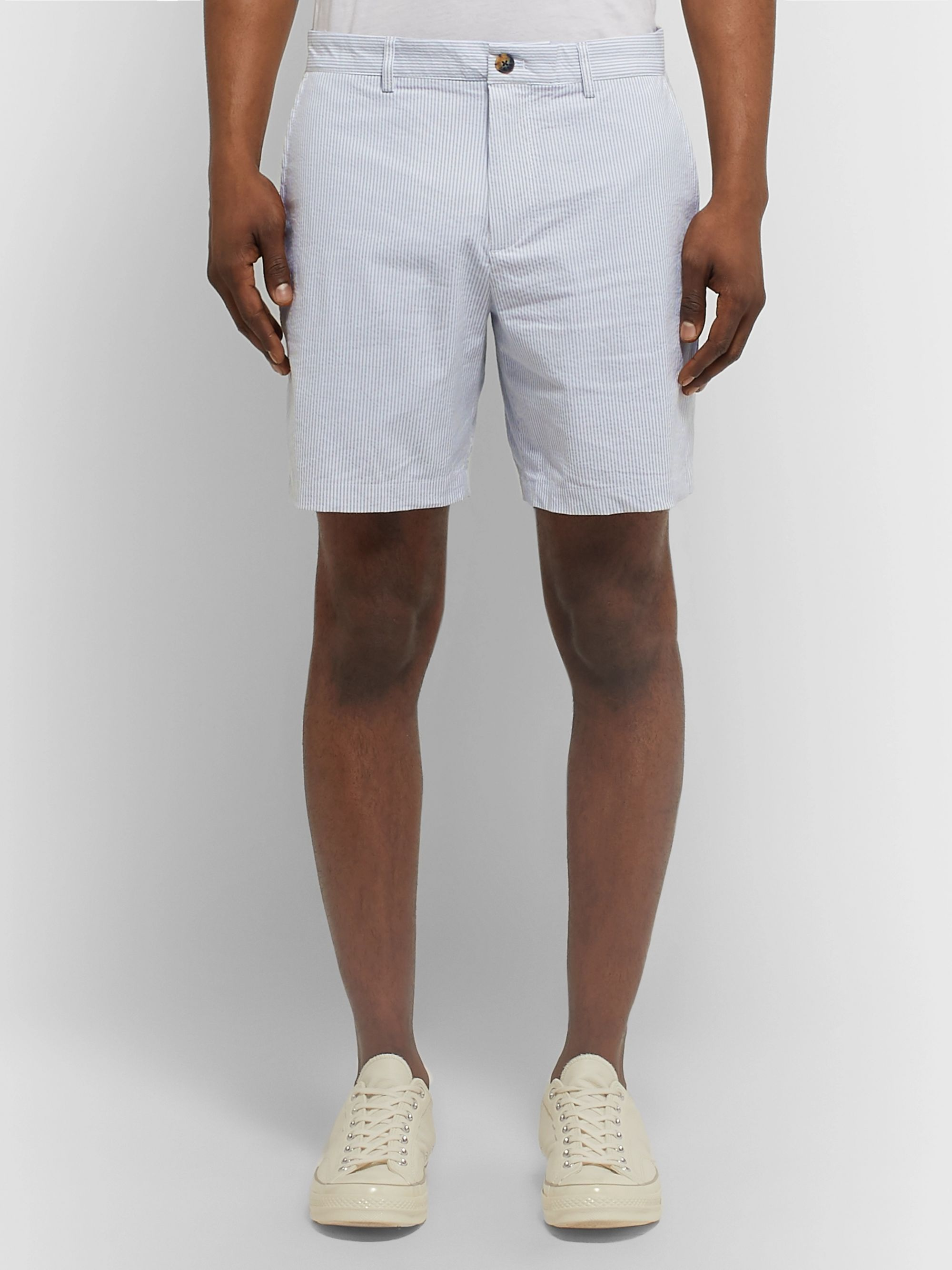 Club Monaco Baxter Slim-Fit Pinstriped Cotton-Blend Seersucker Shorts