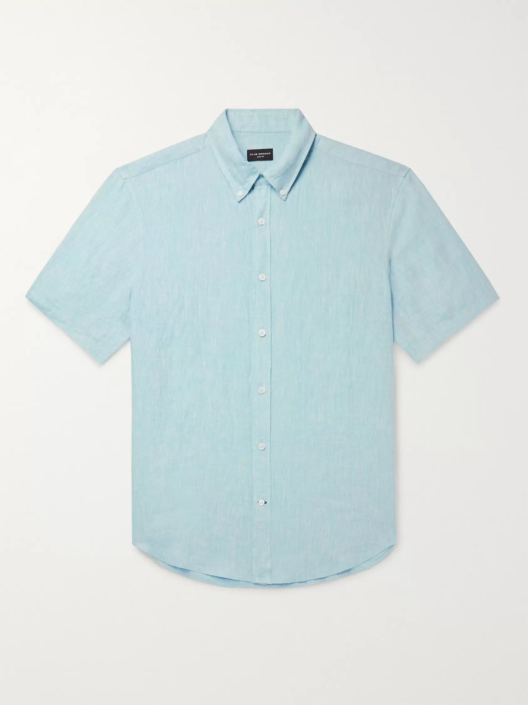 Club Monaco Slim-Fit Button-Down Collar Slub Linen-Chambray Shirt