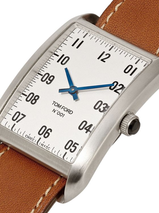 TOM FORD TIMEPIECES 001 Stainless Steel and Leather Watch
