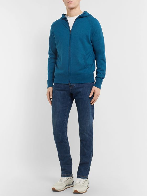 Loro Piana Portland Mélange Cashmere and Silk-Blend Zip-Up Hoodie