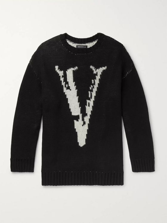 Undercover Logo-Intarsia Cotton and Wool-Blend Sweater