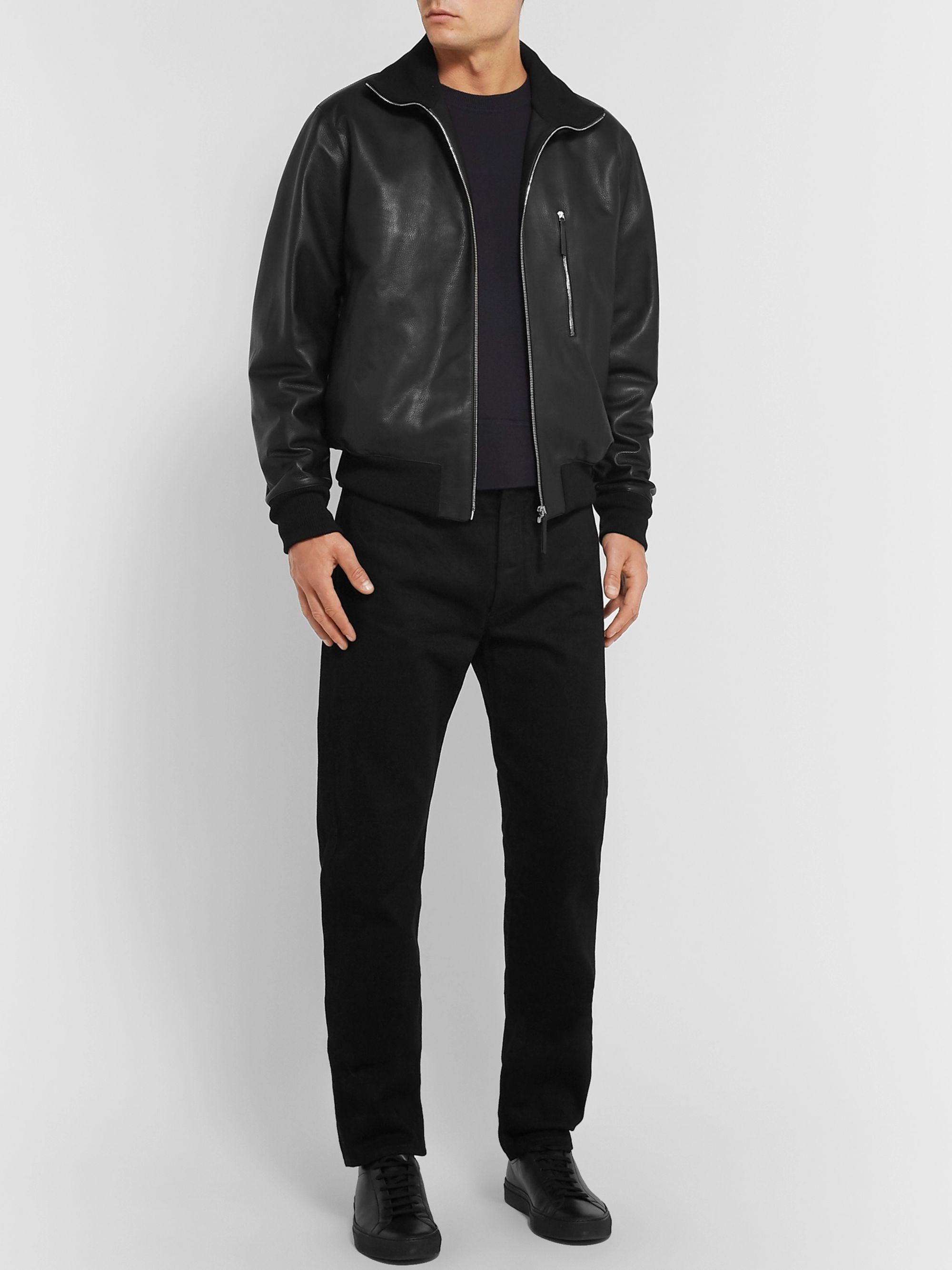 The Row Liam Leather Bomber Jacket