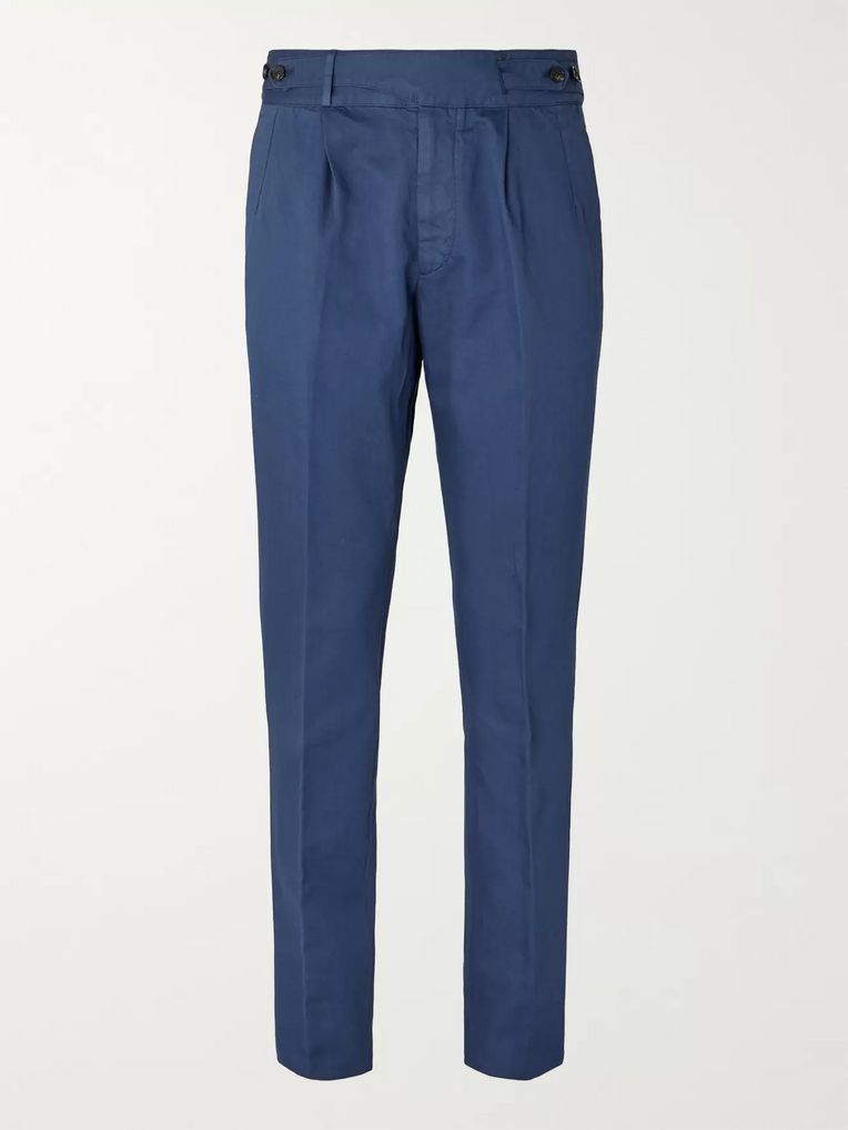 Ermenegildo Zegna Navy Pleated Garment-Dyed Cotton and Linen-Blend Twill Trousers