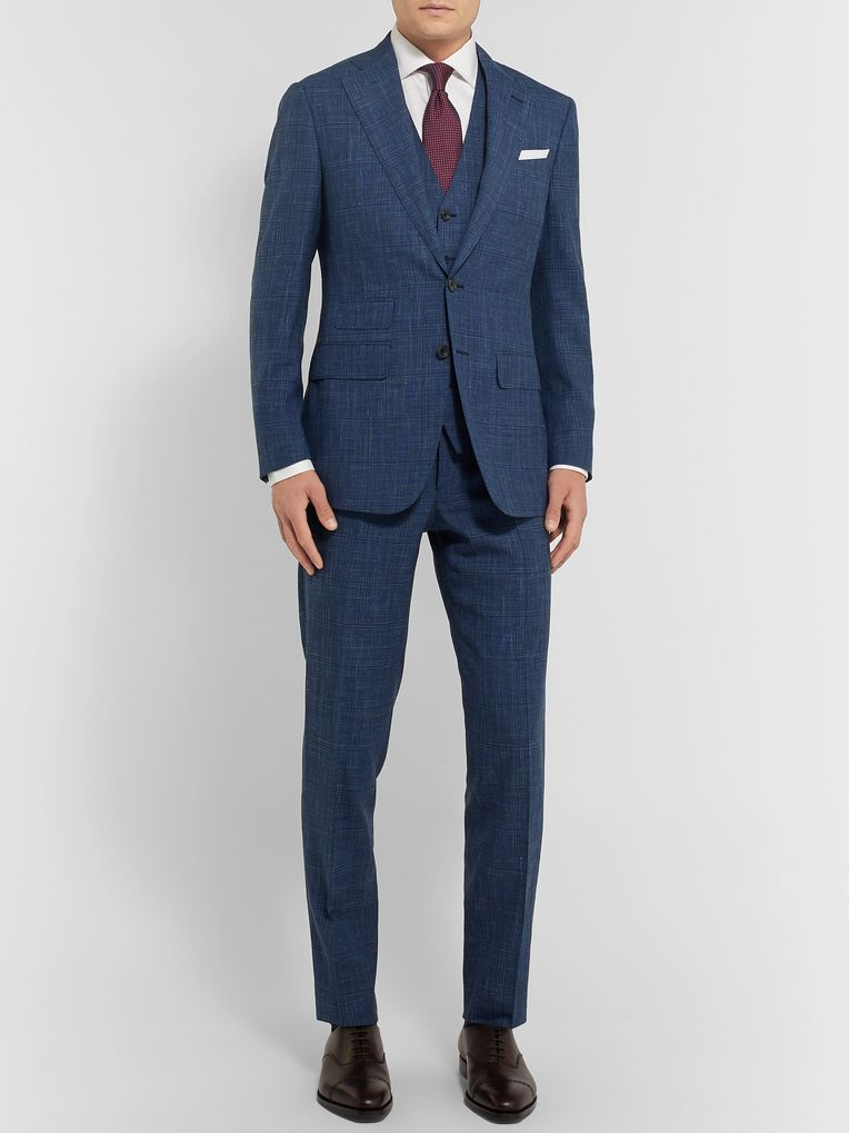 Thom Sweeney Blue Checked Wool, Silk and Linen-Blend Waistcoat