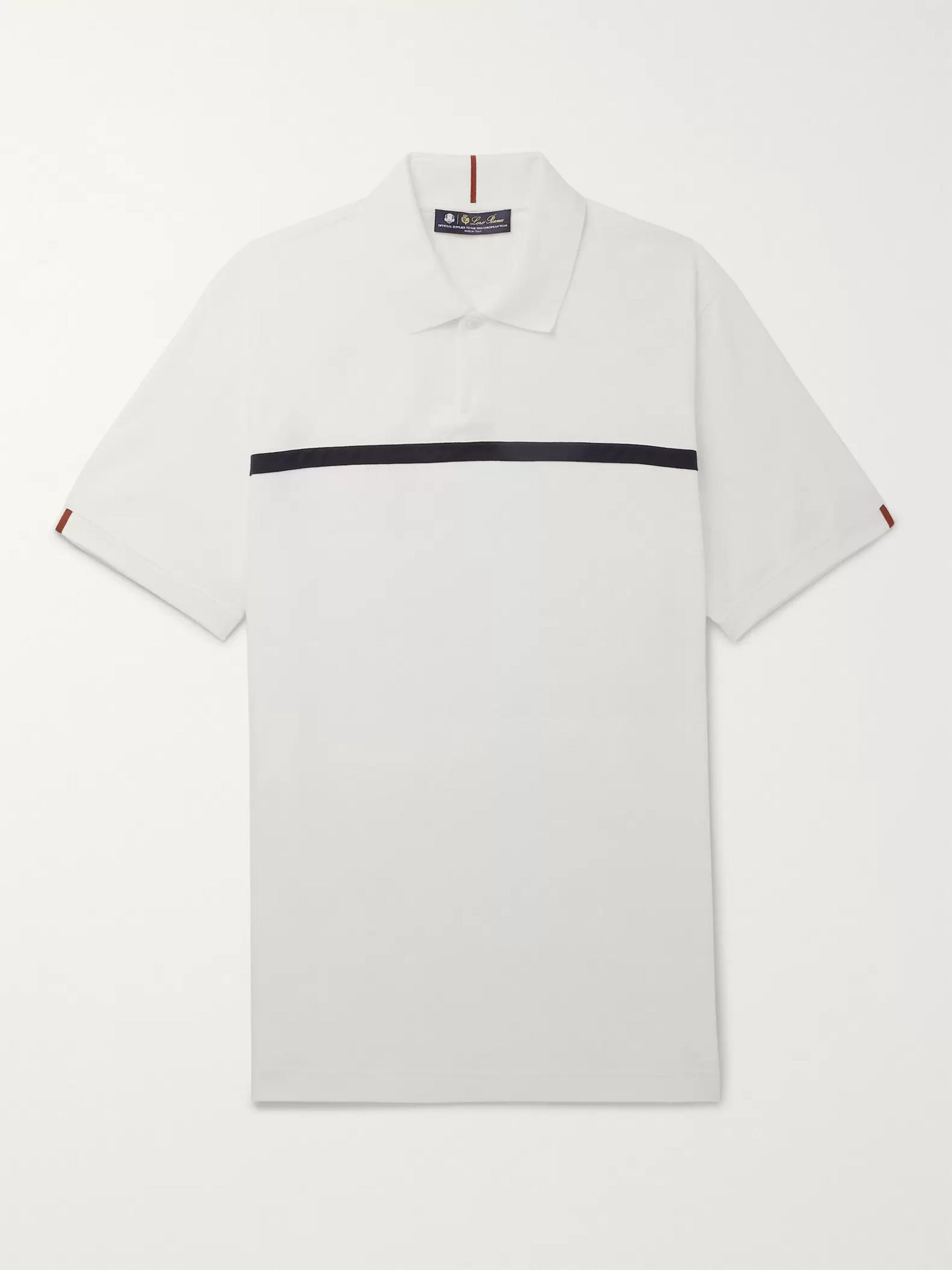 Loro Piana 28Matches Striped Jersey Golf Polo Shirt