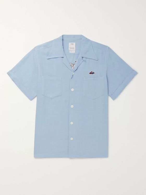 visvim Camp-Collar Embroidered Voile Shirt