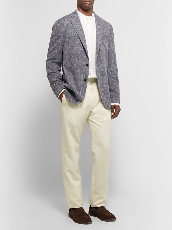 Zanella Nico Tapered Pleated Virgin Wool and Linen-Blend Trousers