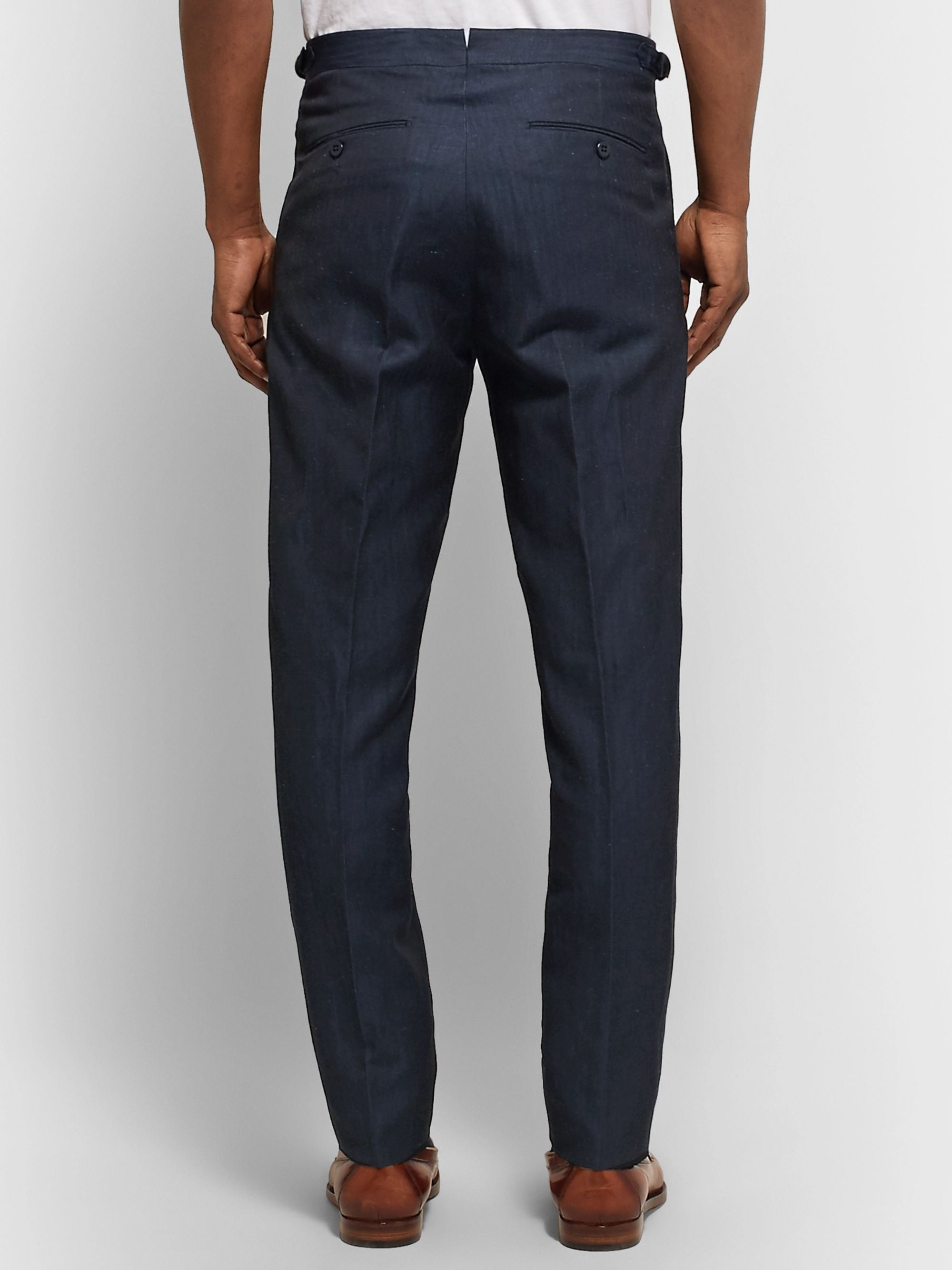 Zanella Midnight-Blue Nico Tapered Pleated Virgin Wool and Linen-Blend Trousers