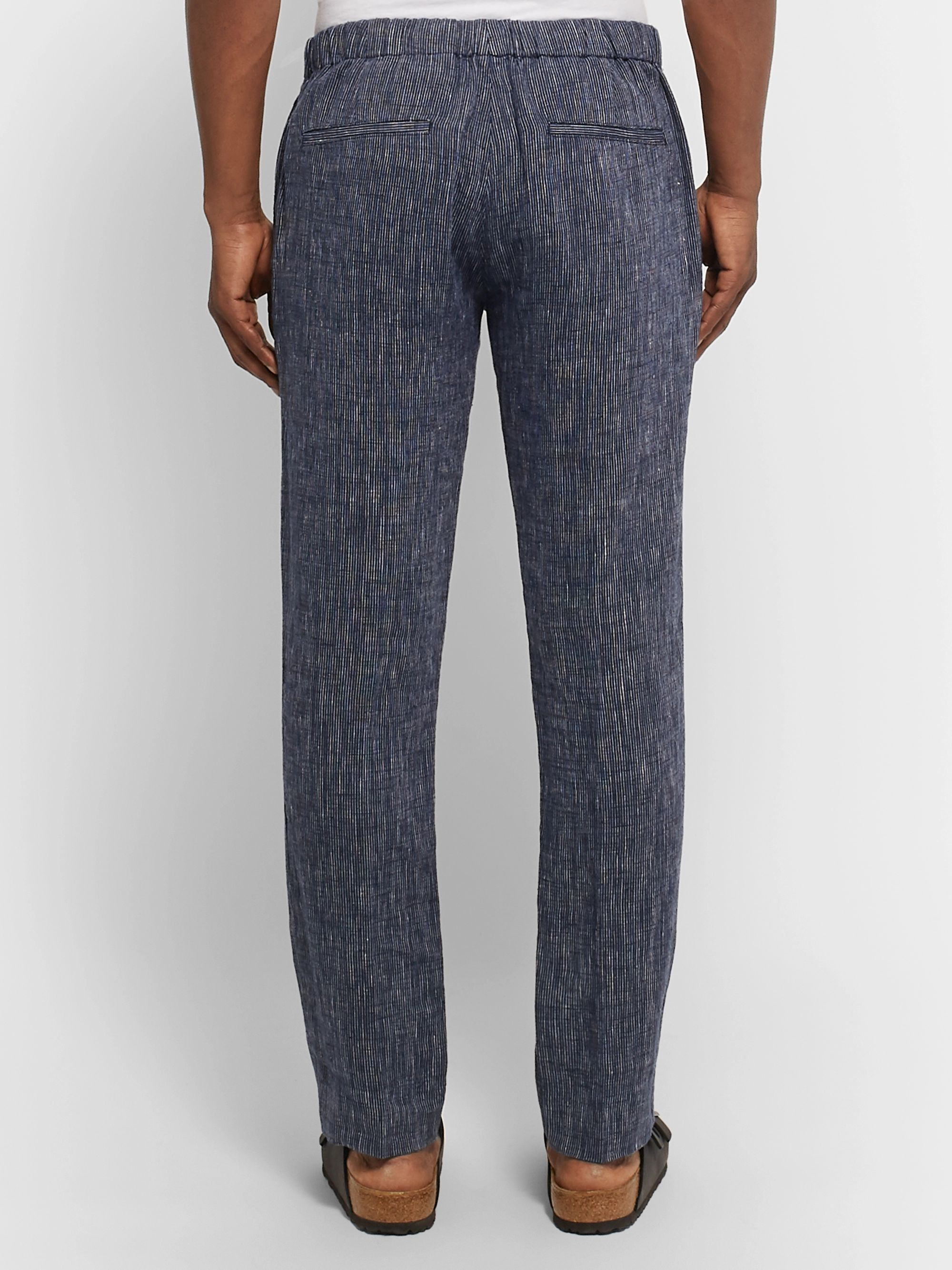 Club Monaco Navy Slim-Fit Striped Linen Trousers