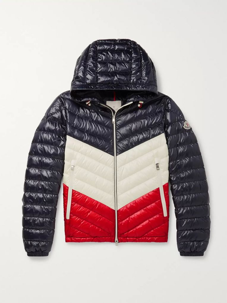 Moncler Palliser Slim-Fit Colour-Block Quilted Shell Hooded Down Jacket