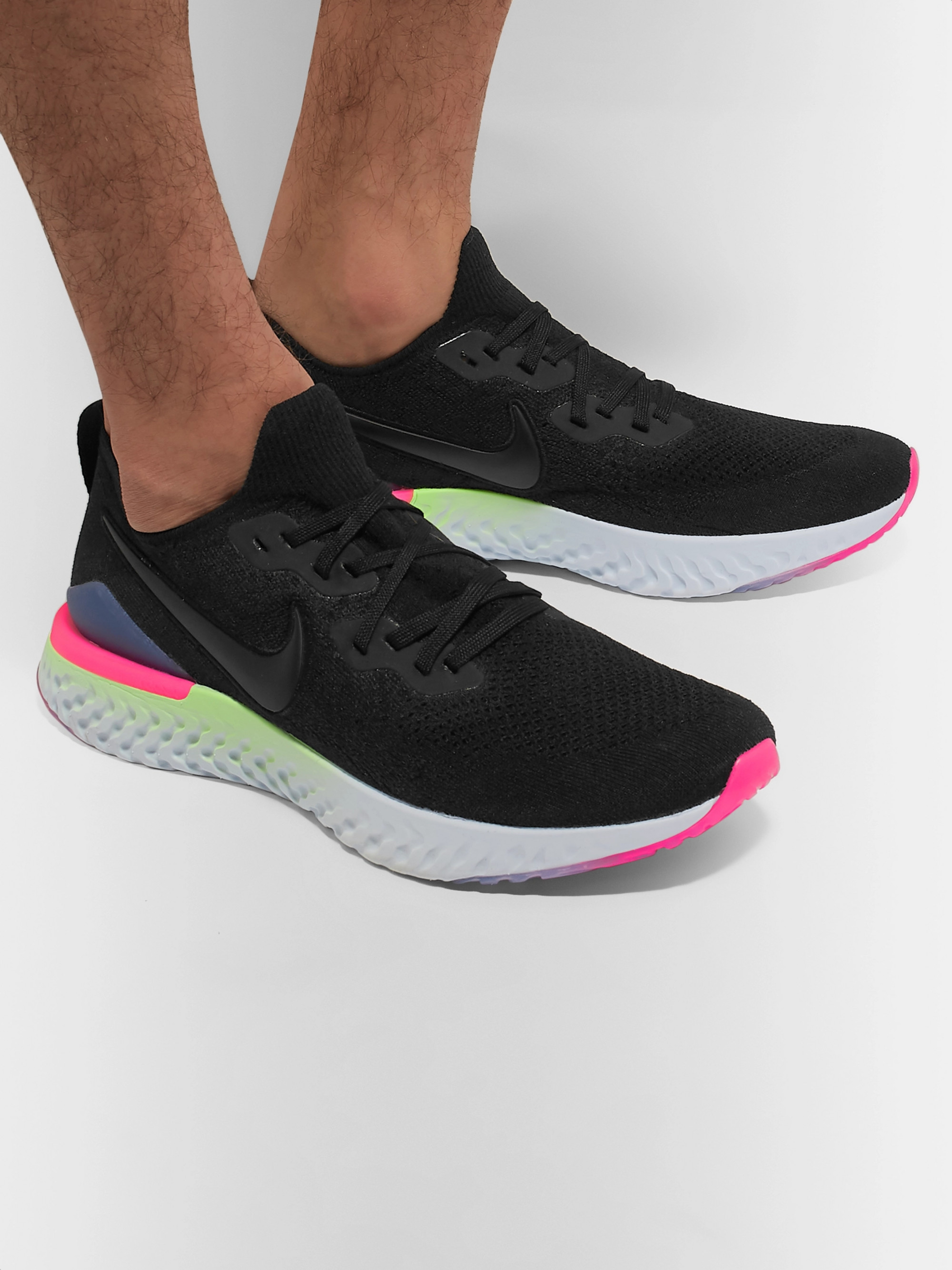 379020a2a Black Epic React Flyknit 2 Running Sneakers | Nike Running | MR PORTER