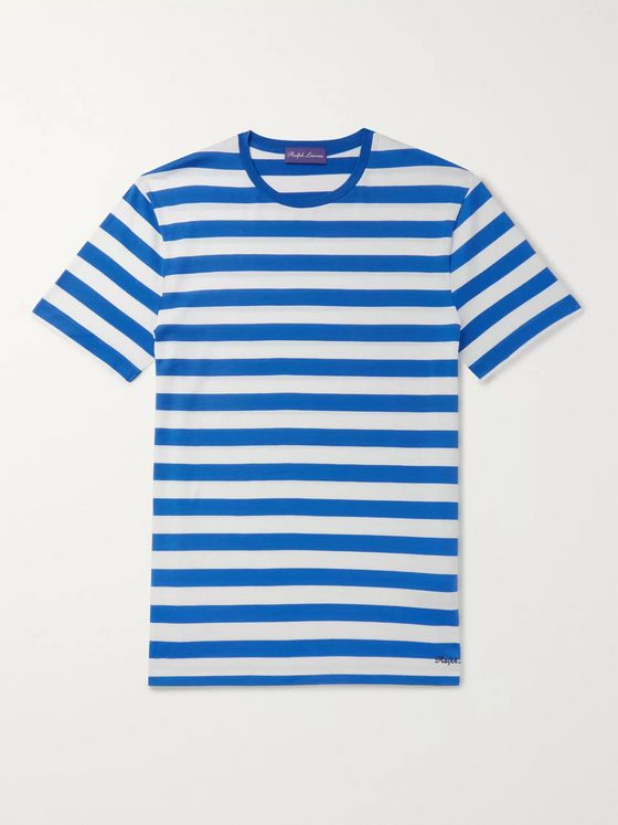 Ralph Lauren Purple Label Logo-Embroidered Striped Pima Cotton-Jersey T-Shirt