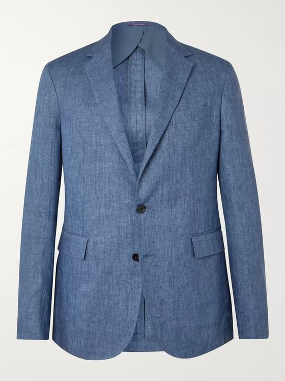 Ralph Lauren Purple Label Blue Mélange Linen Blazer