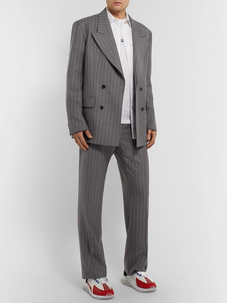 Versace Grey Oversized Double-Breasted Pinstriped Wool Suit Jacket