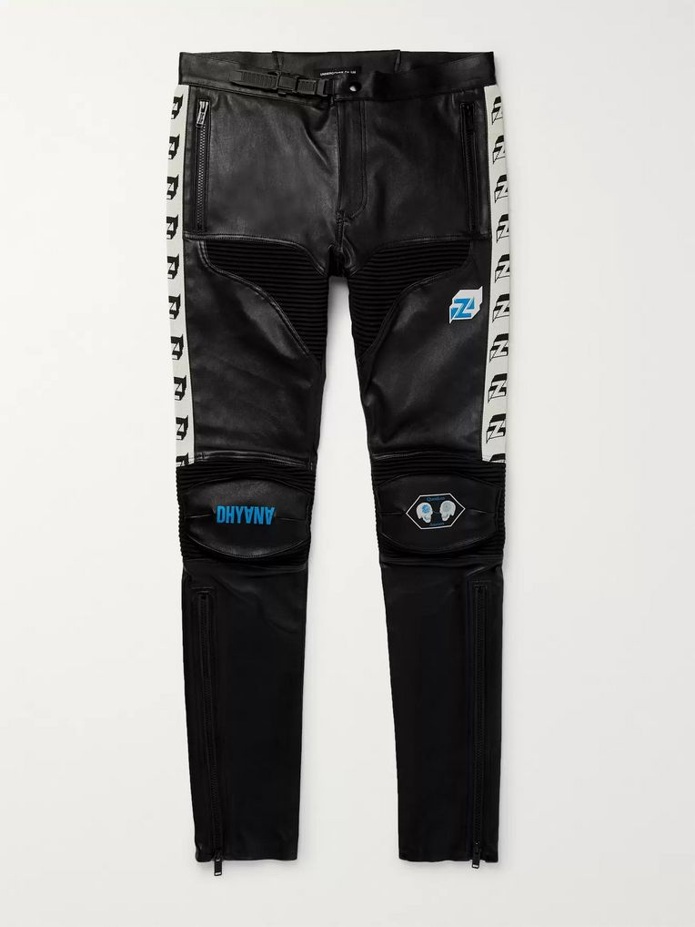 Undercover Skinny-Fit Printed Leather Biker Trousers