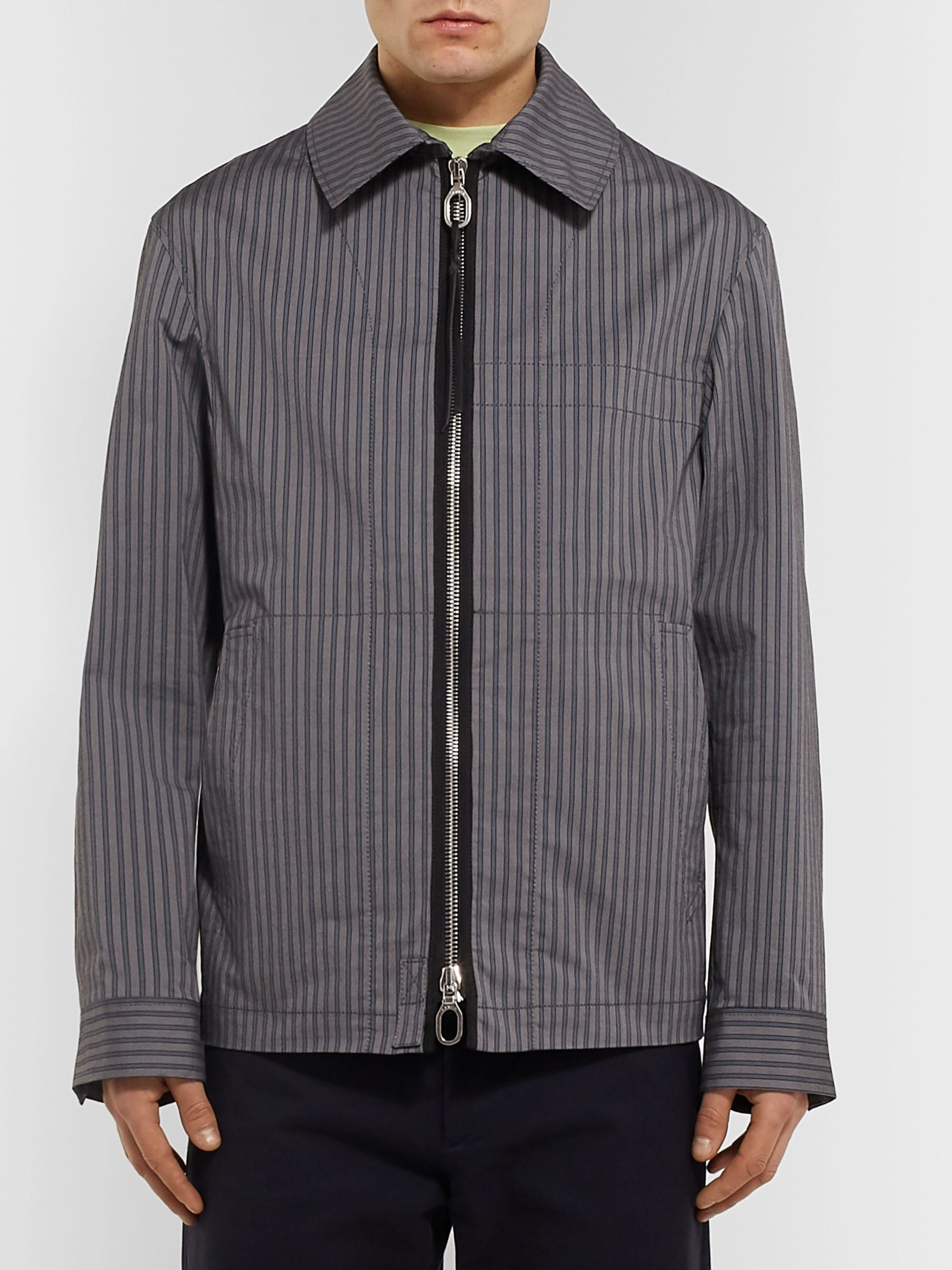 Lanvin Leather-Trimmed Striped Twill Blouson Jacket