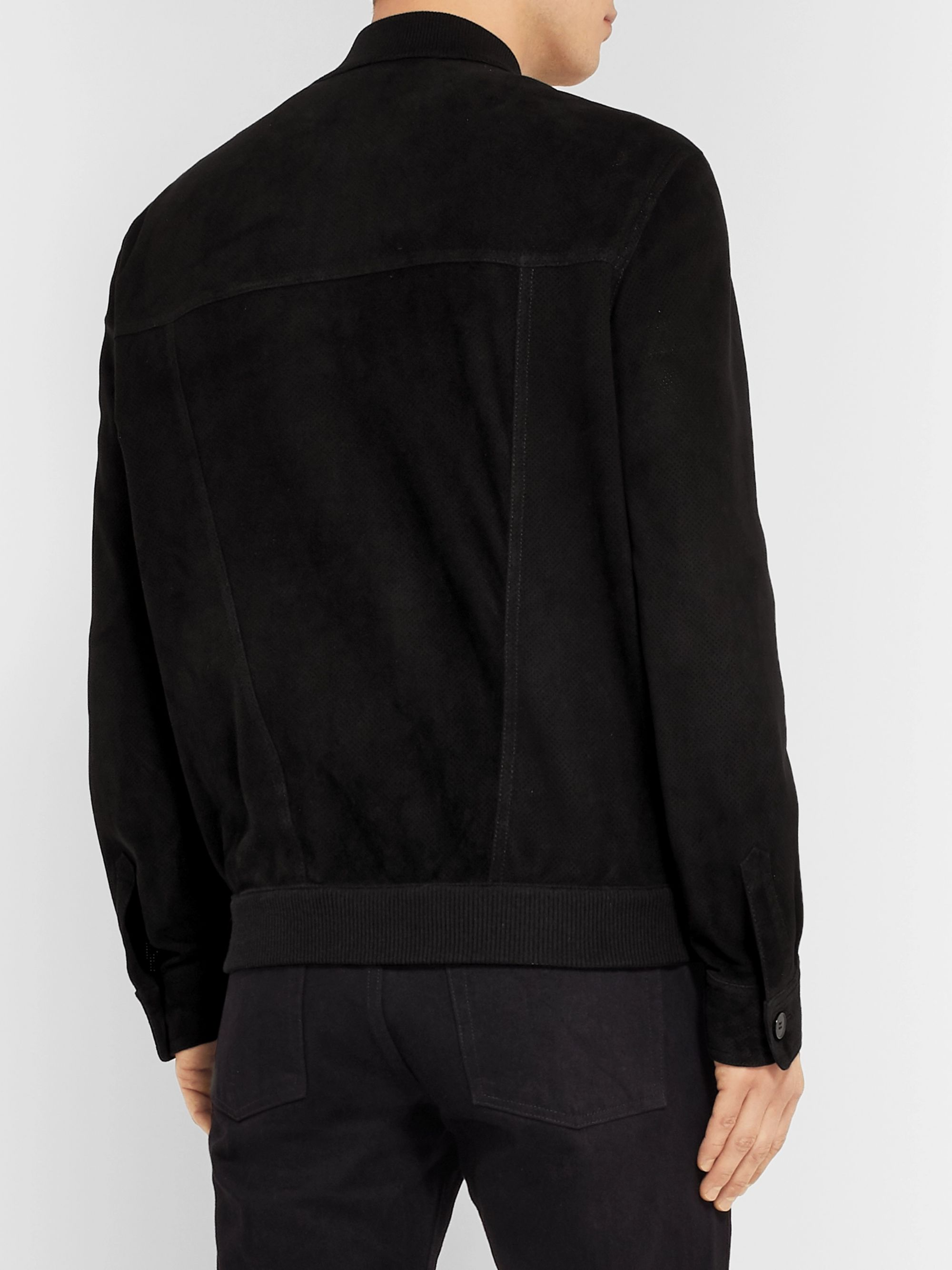 The Row James Perforated Suede Bomber Jacket