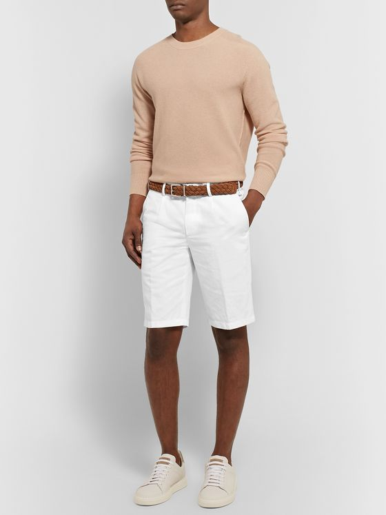 Loro Piana Slim-Fit Pleated Cotton and Linen-Blend Bermuda Shorts