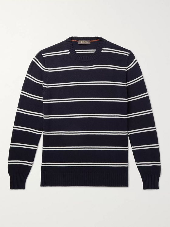Loro Piana Slim-Fit Striped Cotton and Silk-Blend Sweater