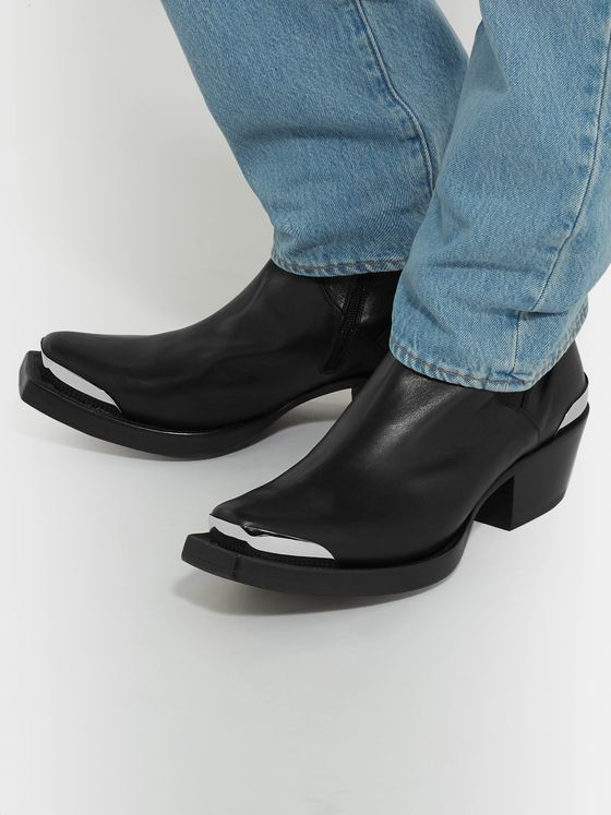 Vetements Metal-Tipped Leather Boots