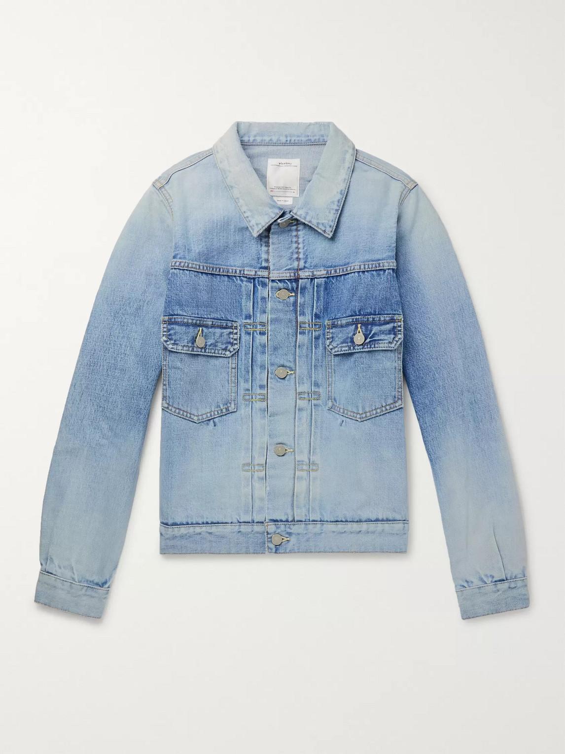 Visvim Social Sculpture 101 Distressed Denim Jacket In Blue