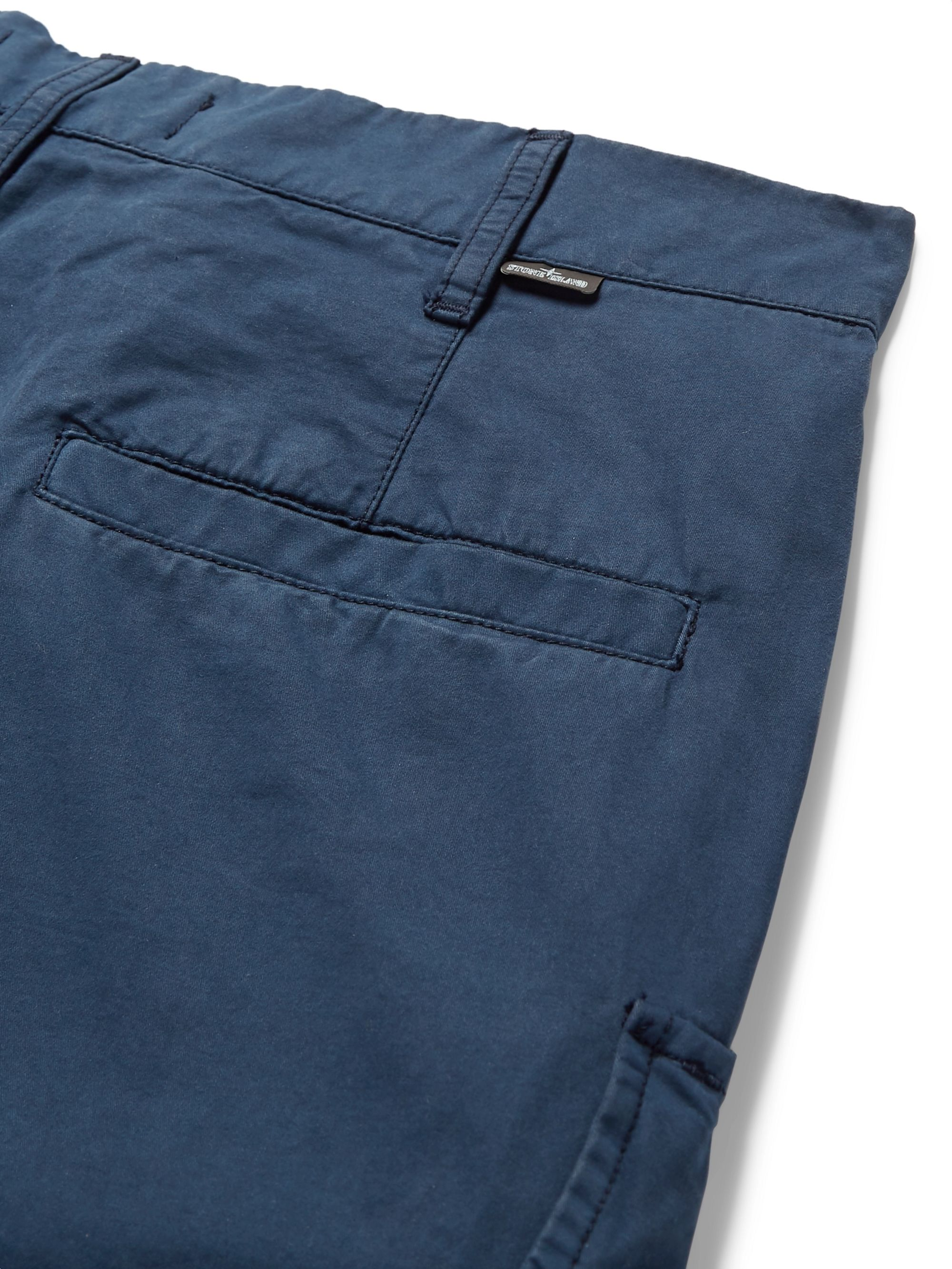 Stone Island Shadow Project Storm-Blue Cropped Brushed Cotton-Twill Cargo Trousers