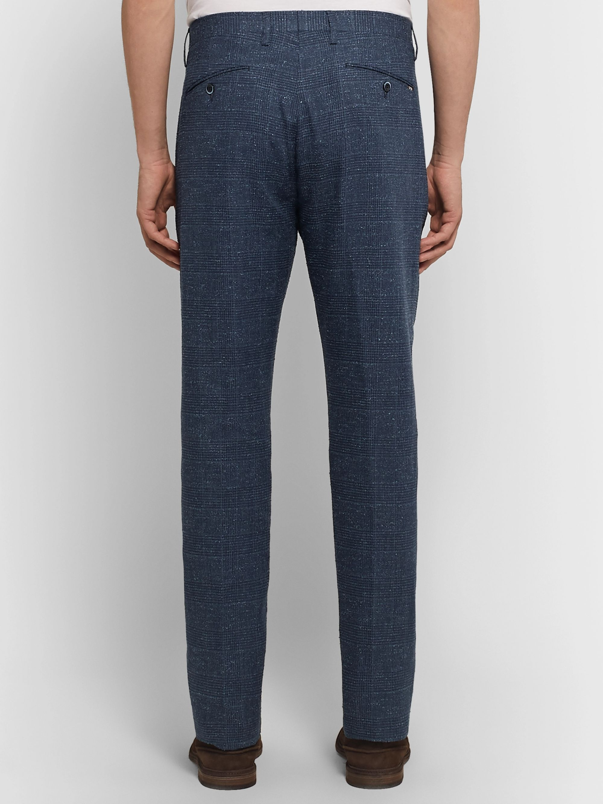 Zanella Navy Noah Slim-Fit Prince of Wales Checked Linen-Blend Trousers