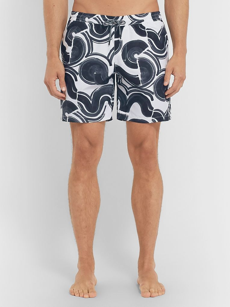 Club Monaco Bo Wave Mid-Length Printed Swim Shorts