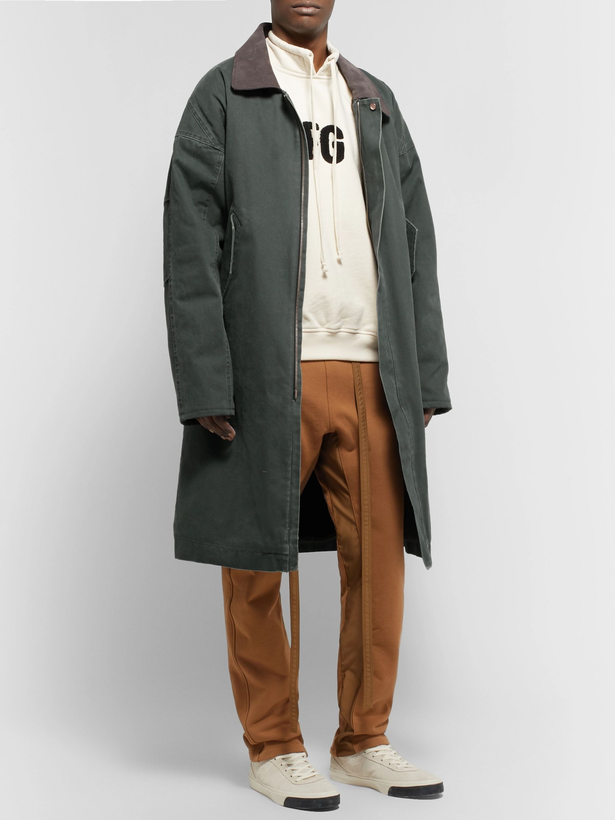 Fear of God Oversized Suede-Trimmed Faux Shearling-Lined Canvas Coat