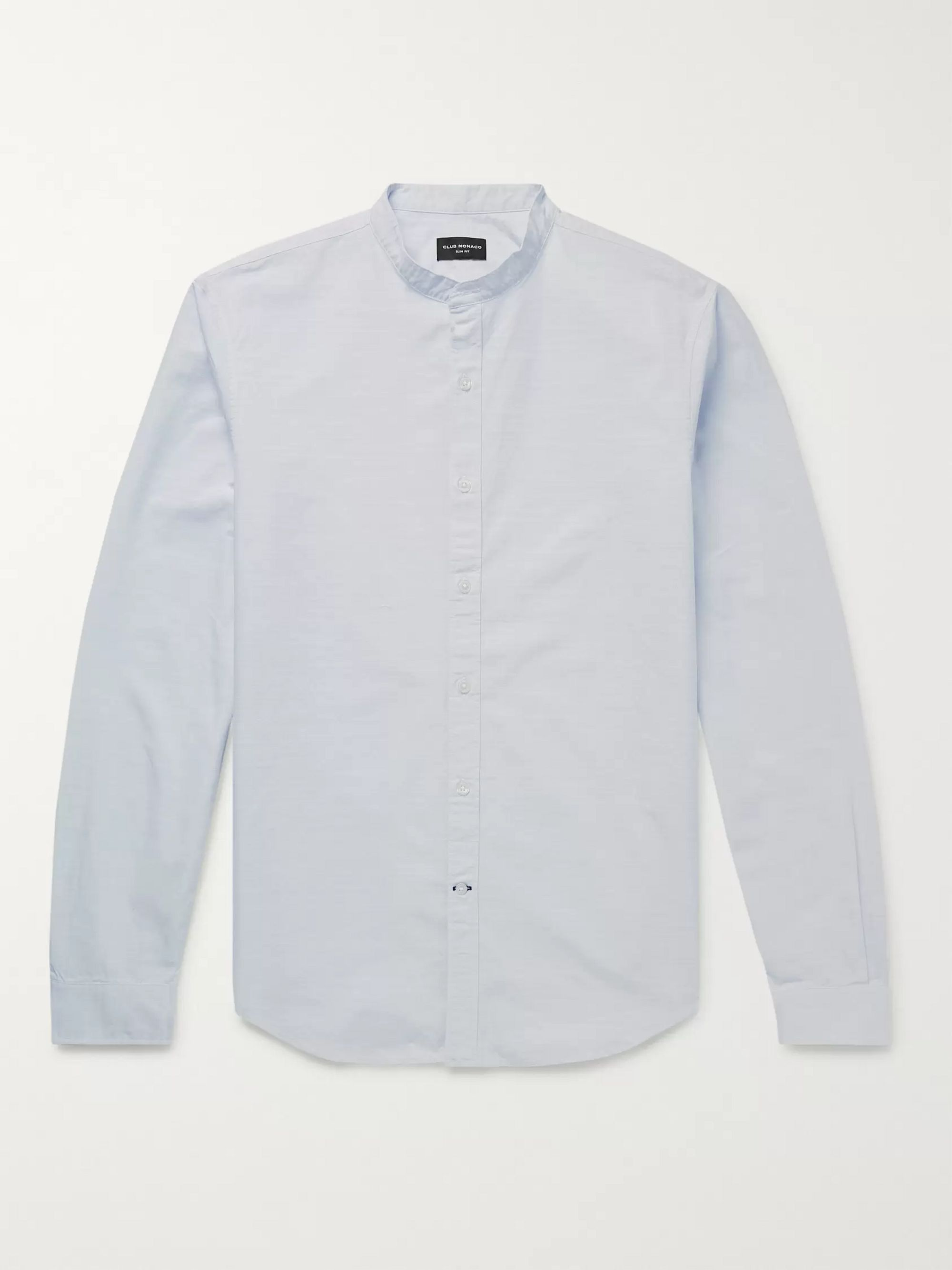 Club Monaco Slim-Fit Grandad-Collar Slub Cotton Shirt