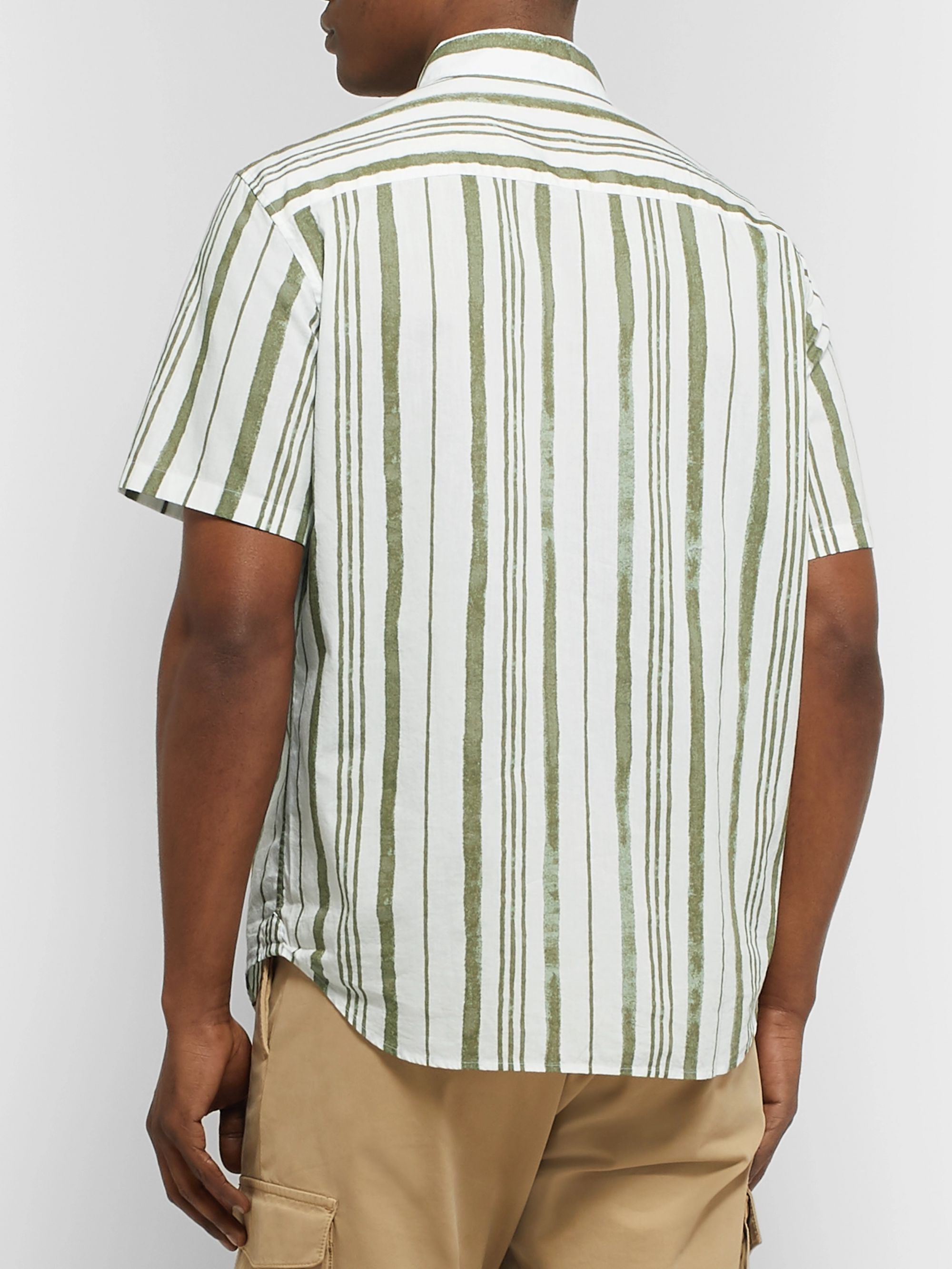 Club Monaco Slim-Fit Button-Down Collar Striped Cotton Shirt