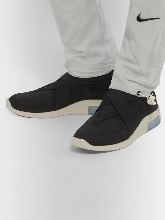 Nike + Fear of God 1 Air Raid Suede and Webbing High-Top Sneakers
