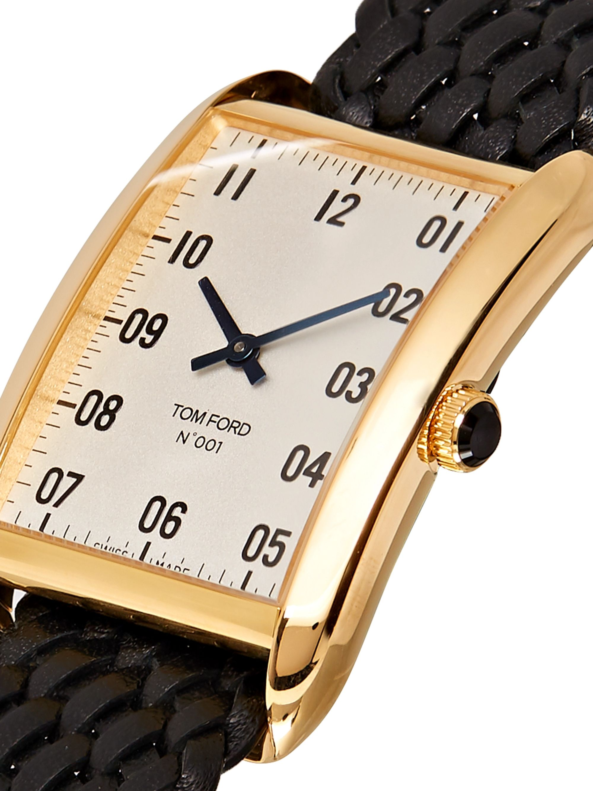 Tom Ford Timepieces Quartz 18-Karat Gold and Woven Leather Watch