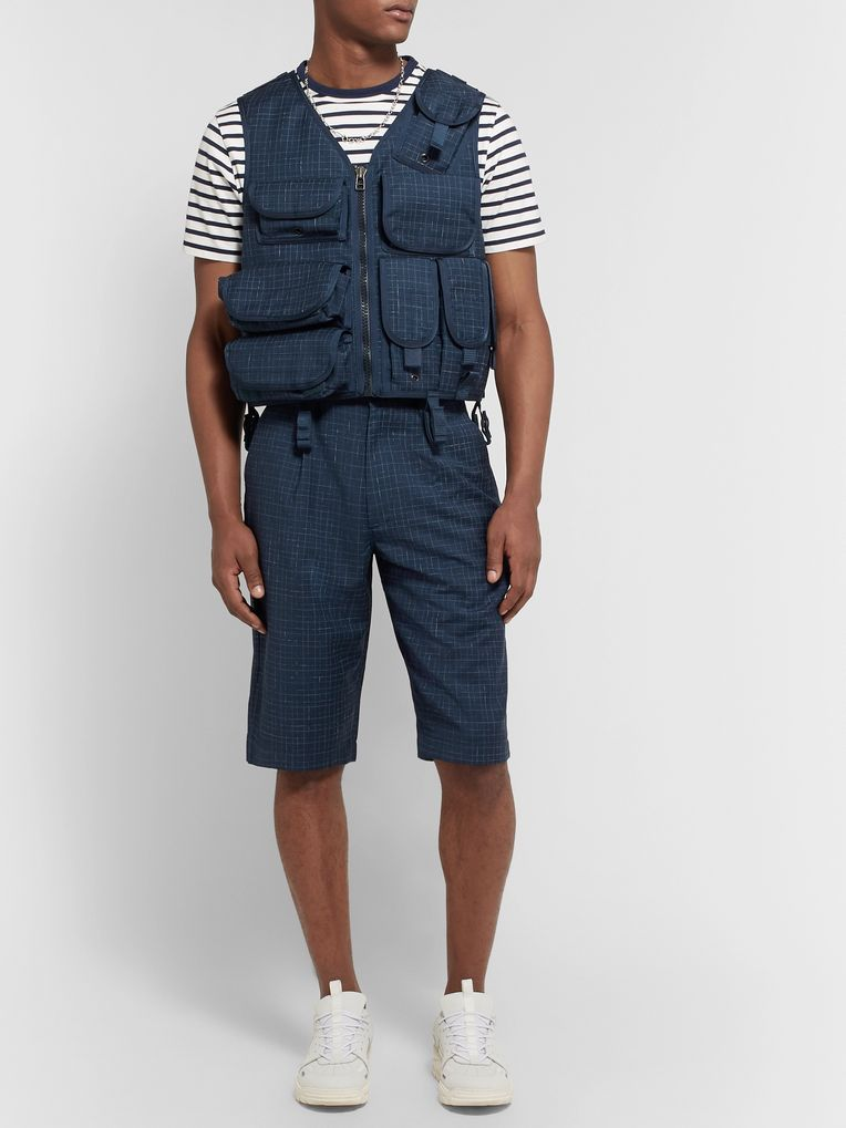 Junya Watanabe Grosgrain-Trimmed Checked Wool Gilet