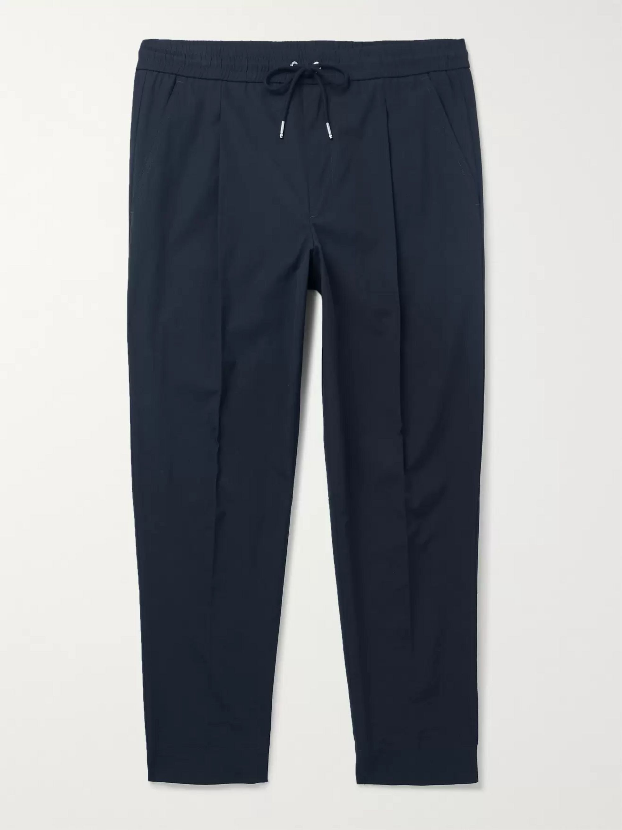 Moncler Tapered Pleated Stretch-Cotton Drawstring Trousers