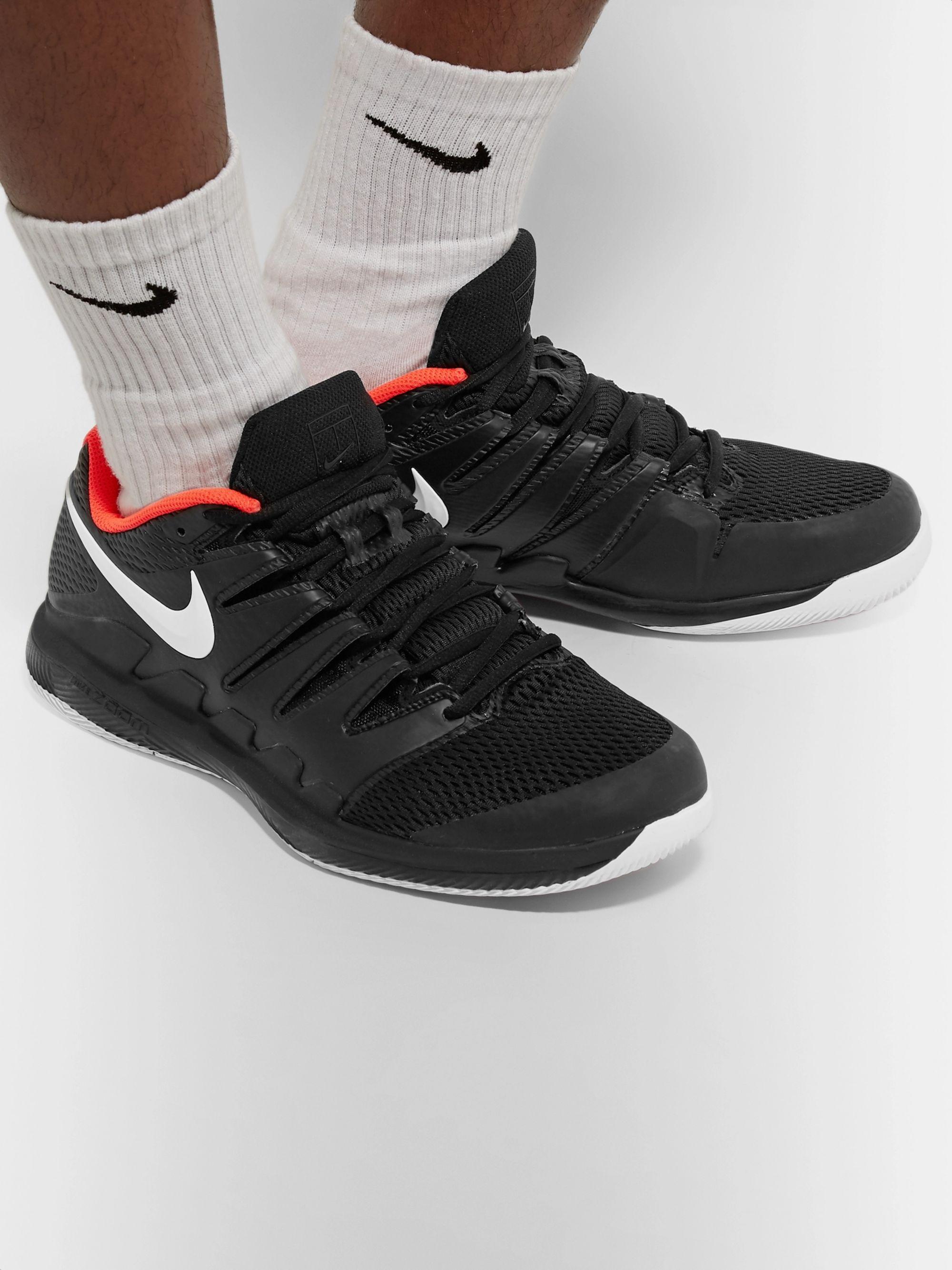 Black Air Zoom Vapor X Rubber and Mesh Tennis Sneakers