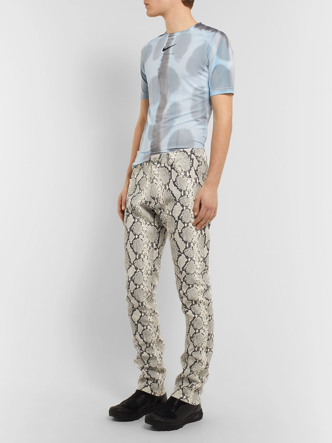 Alyx Pants SLIM-FIT SNAKE-PRINT LEATHER TROUSERS